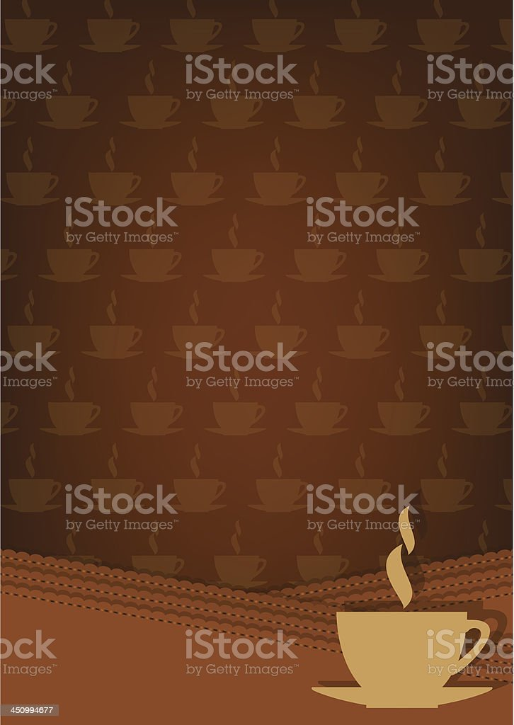 Brown background with cup of hot drink. royalty-free stock vector art