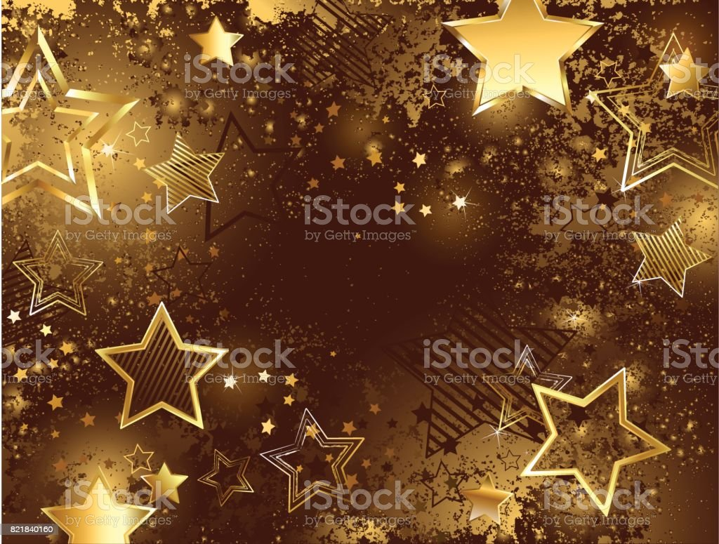brown background with golden stars vector art illustration