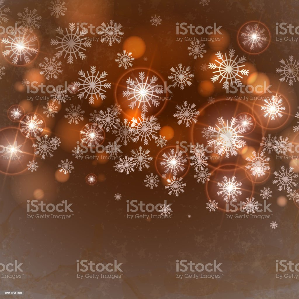 Brown background with snowflakes. royalty-free stock vector art