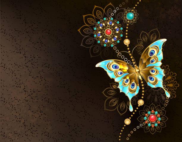 Fondo marrón con mariposa turquesa - ilustración de arte vectorial