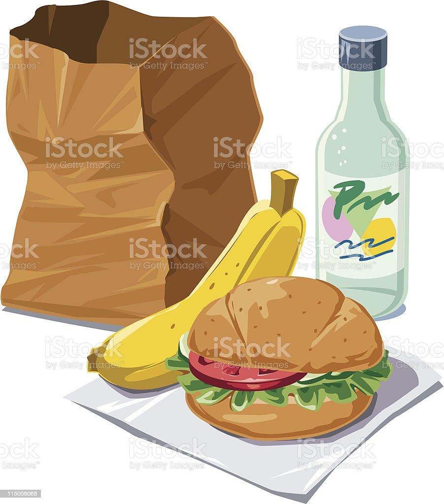 Brown bag lunch vector art illustration