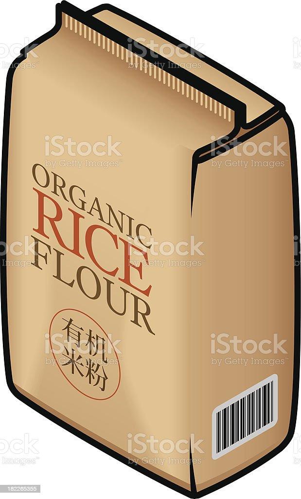 Brown bag of Organic rice flour vector art illustration