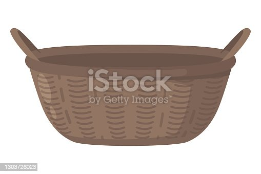 istock Brown Basket Illustration In Cartoon Style, isolated on White Background 1303726023
