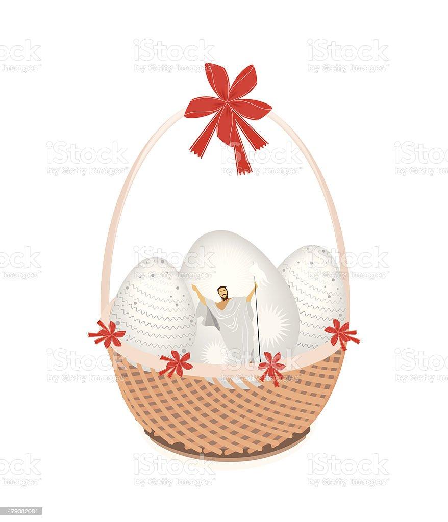 Brown Basket of Beautiful Easter Egg royalty-free stock vector art