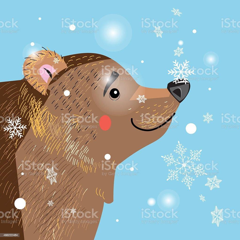 brown bear among vector art illustration