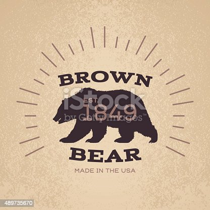 A brown bear textual badge or emblem design with space for your content. EPS 10 file. Transparency effects used on highlight elements.