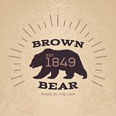 Brown Bear Badge Emblem Design