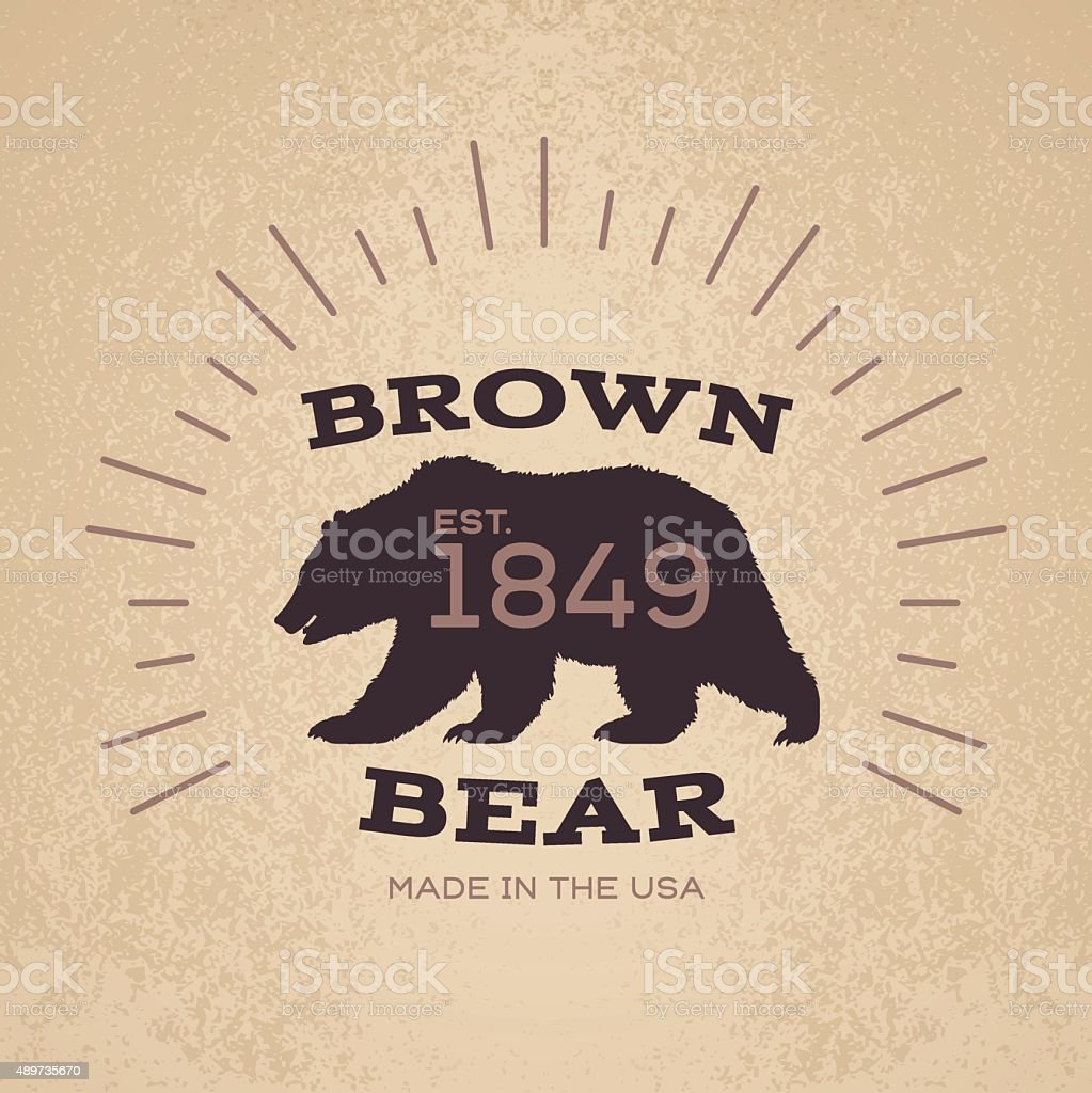 Brown Bear Badge Emblem Design vector art illustration