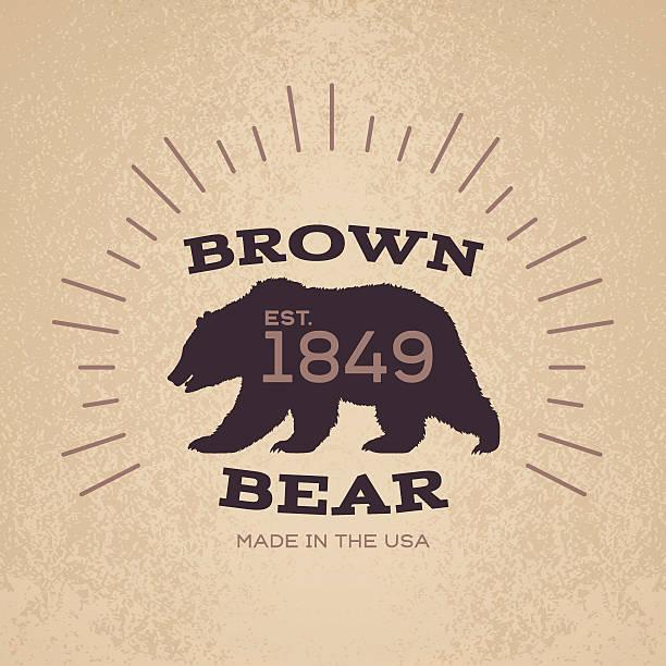 ilustrações, clipart, desenhos animados e ícones de desenho de emblema distintivo de urso pardo - urso