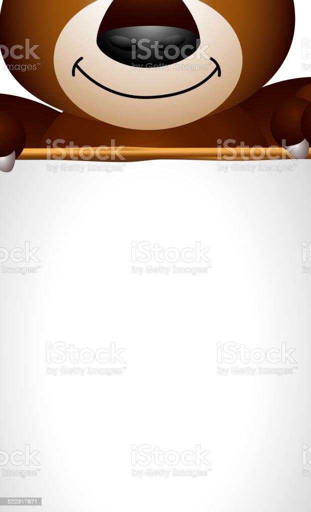 brown bear cartoon holding blank sign vector art illustration