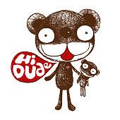 brown bear, cute bear illustration, friendly bear, duo bear,character cartoon - Vector