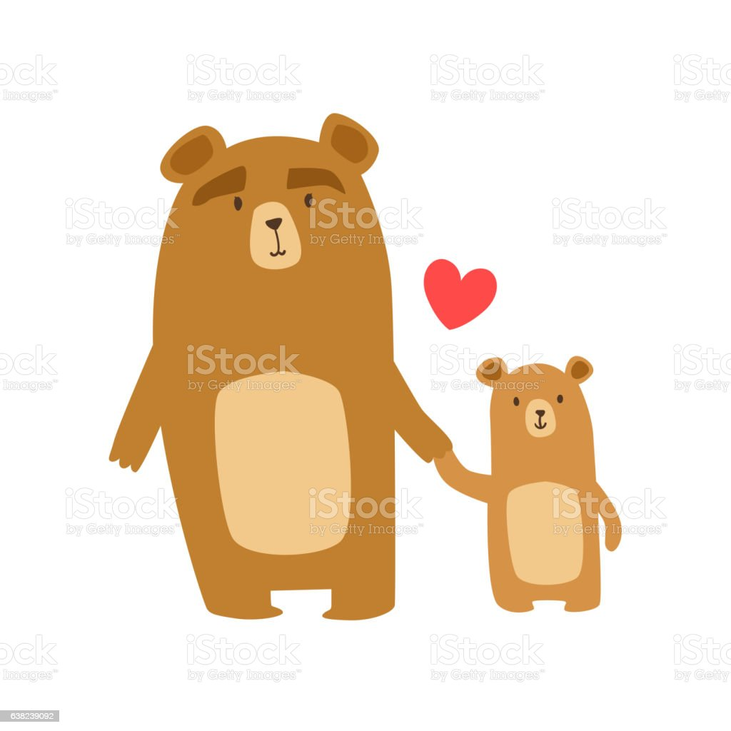 Brown Bear Dad Animal Parent And Its Baby Calf Parenthood vector art illustration