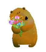 Isolated wild bear with flowers. Vector illustration.