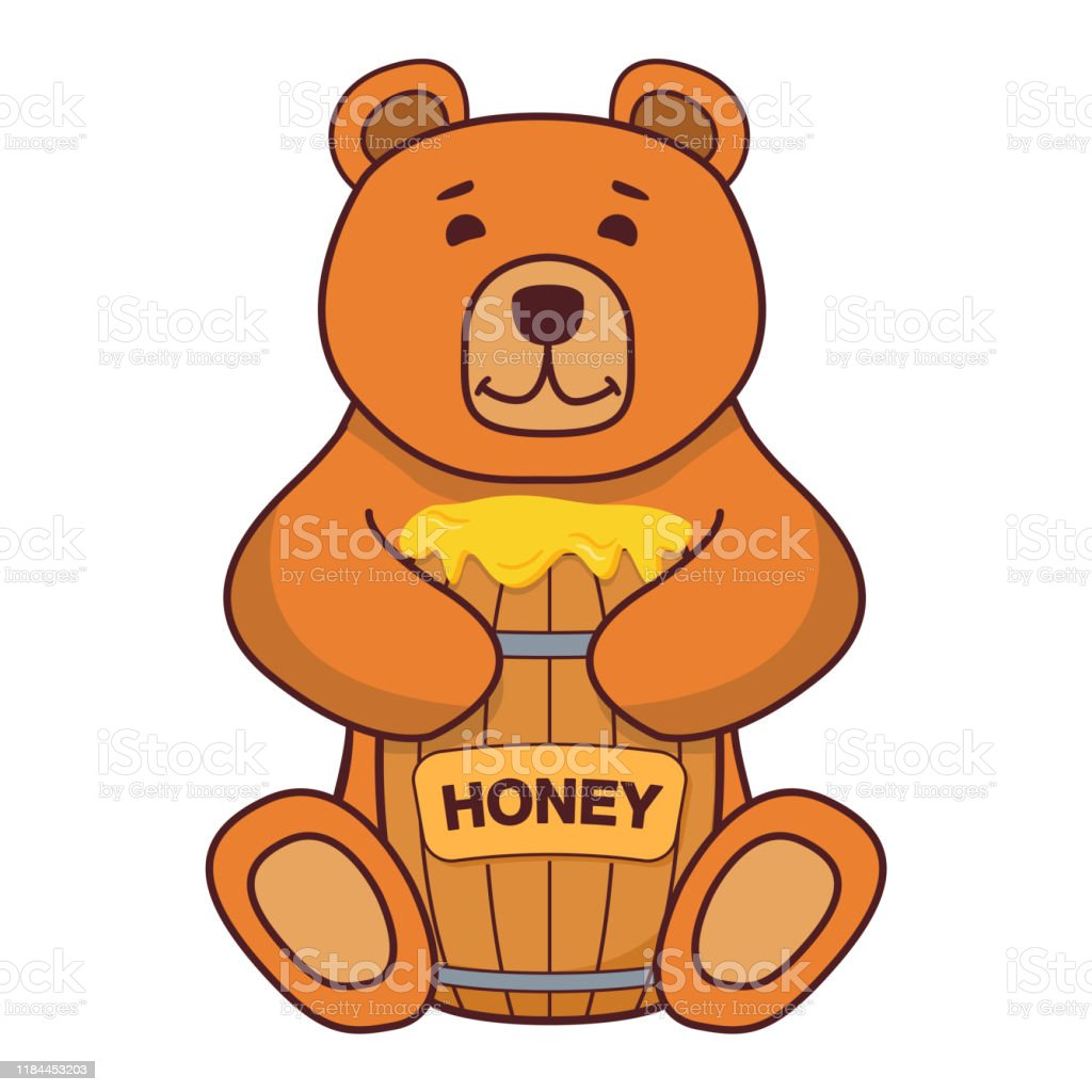 Cute gray teddy bear sitting and holding honey barrel. funny lovely animal  colorful cartoon character vector illustration