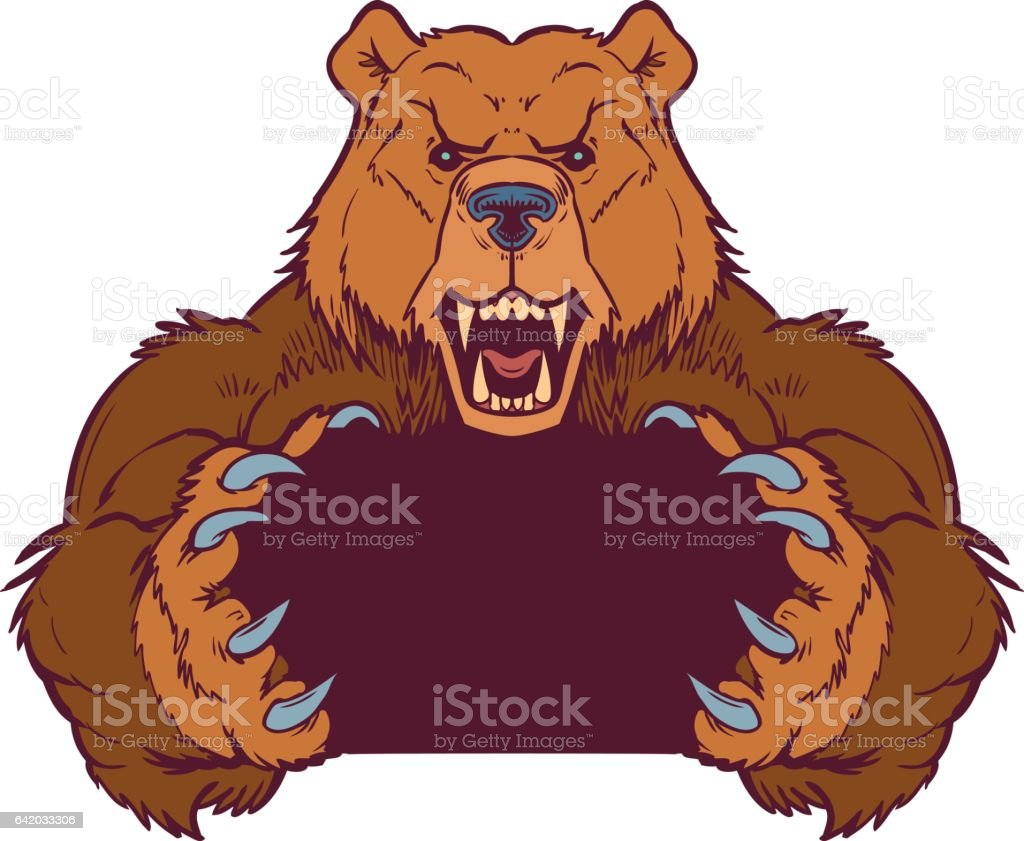brown bear mascot holding with claws vector template stock vector