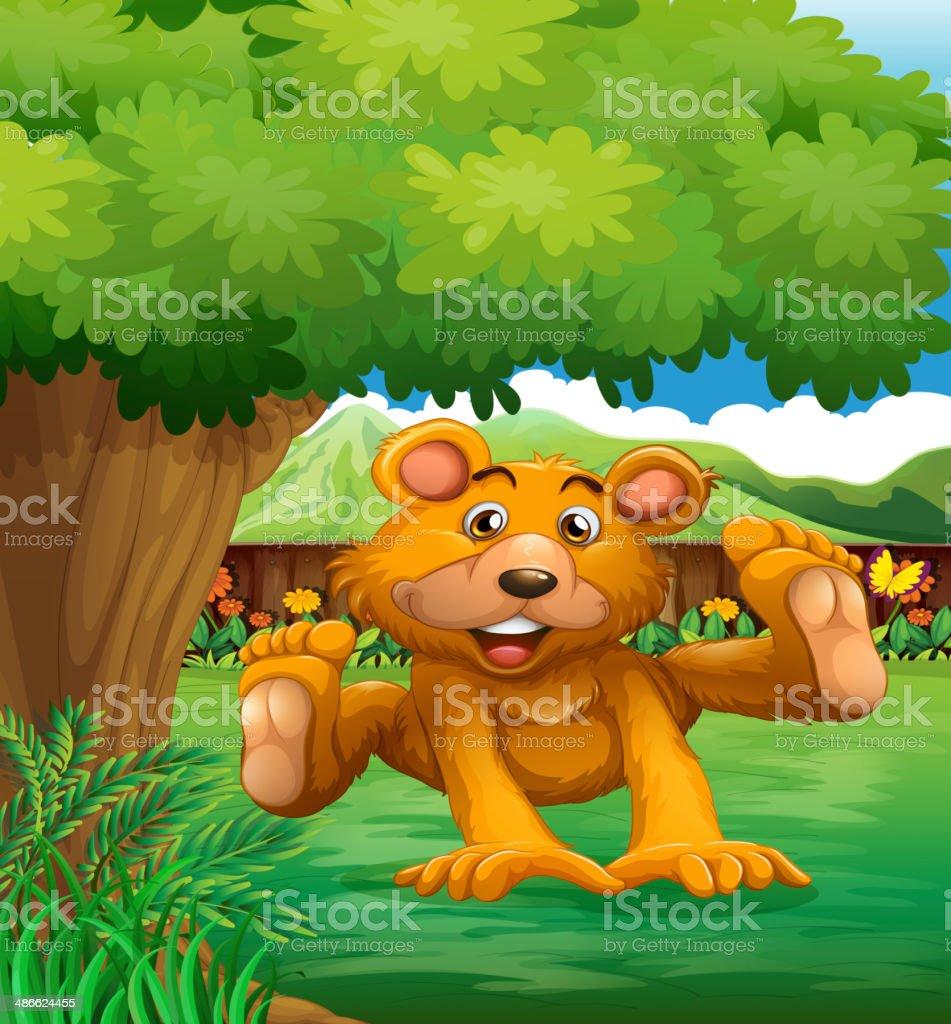 brown bear playing under tree at the backyard royalty-free brown bear playing under tree at the backyard stock vector art & more images of animal