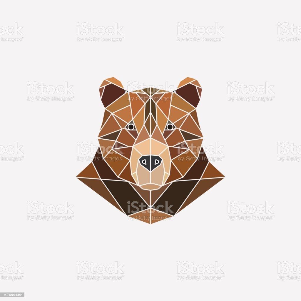 Brown bear portrait. Abstract polygonal design. Vector illustration. vector art illustration