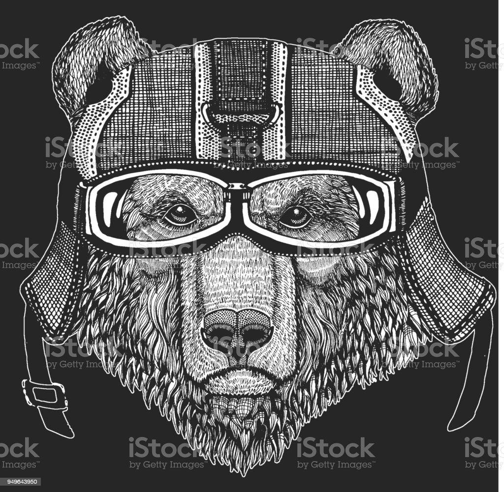 Brown bear Russian bear Crazy biker for t-shirt, emblem, tattoo, patch, logo Wild animal vector art illustration