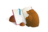 Smart and cute bear cub studying sitting in front of open empty book and reading. Vector watercolor style cartoon.