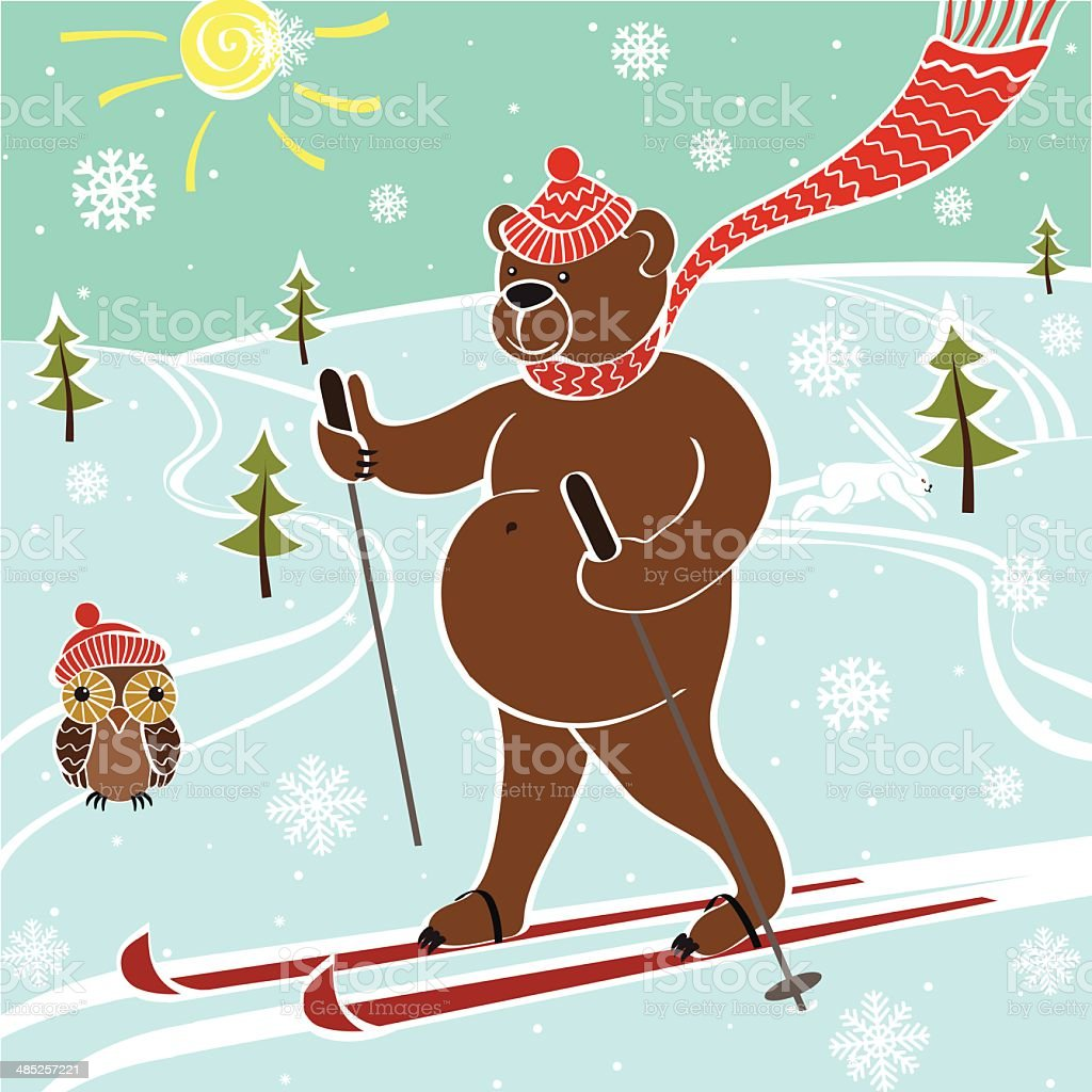 Brown bear skiing in nature.Vector humorous illustration vector art illustration