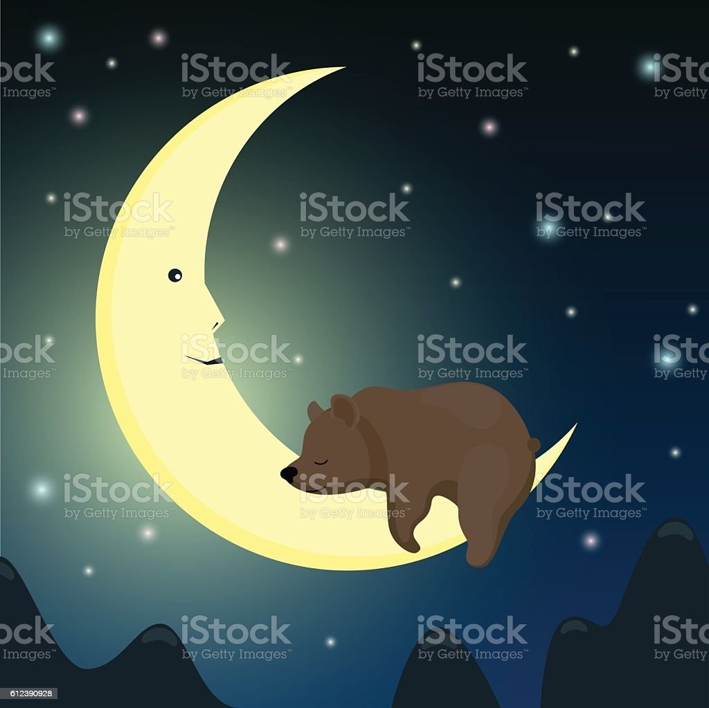 Brown bear sleeping on the moon in the night sky. vector art illustration