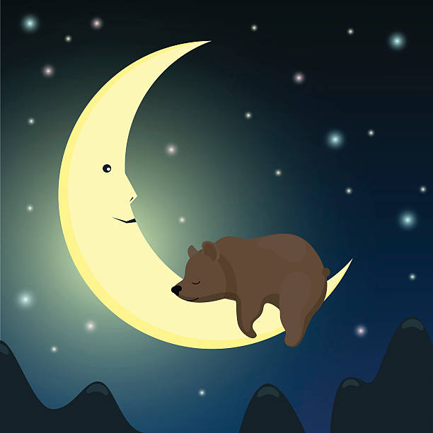 brown bear sleeping on the moon in the night sky. - hibernation stock illustrations, clip art, cartoons, & icons