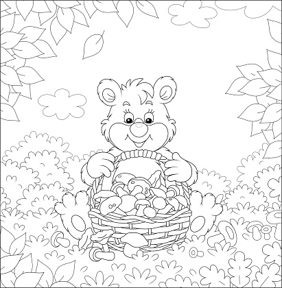 Brown bear with a basket of mushrooms