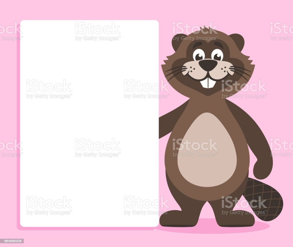 A brown beaver with a white board on a pink background. royalty-free a brown beaver with a white board on a pink background stock vector art & more images of animal