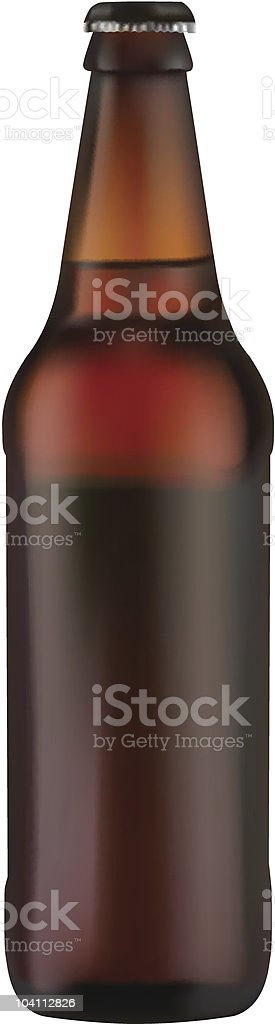 Brown beer bottle with no label and a black cap royalty-free stock vector art