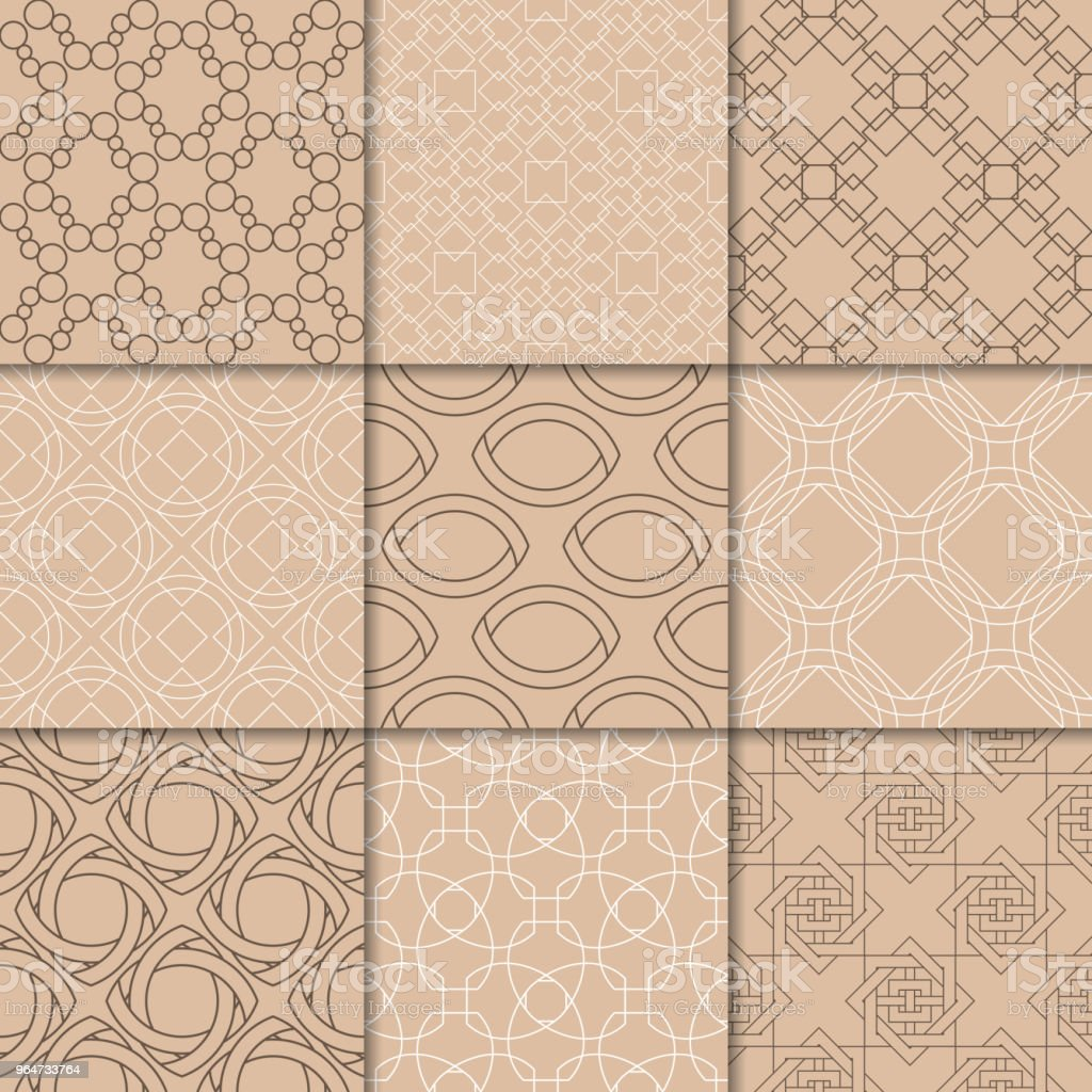 Brown beige geometric ornaments. Collection of seamless patterns royalty-free brown beige geometric ornaments collection of seamless patterns stock vector art & more images of abstract