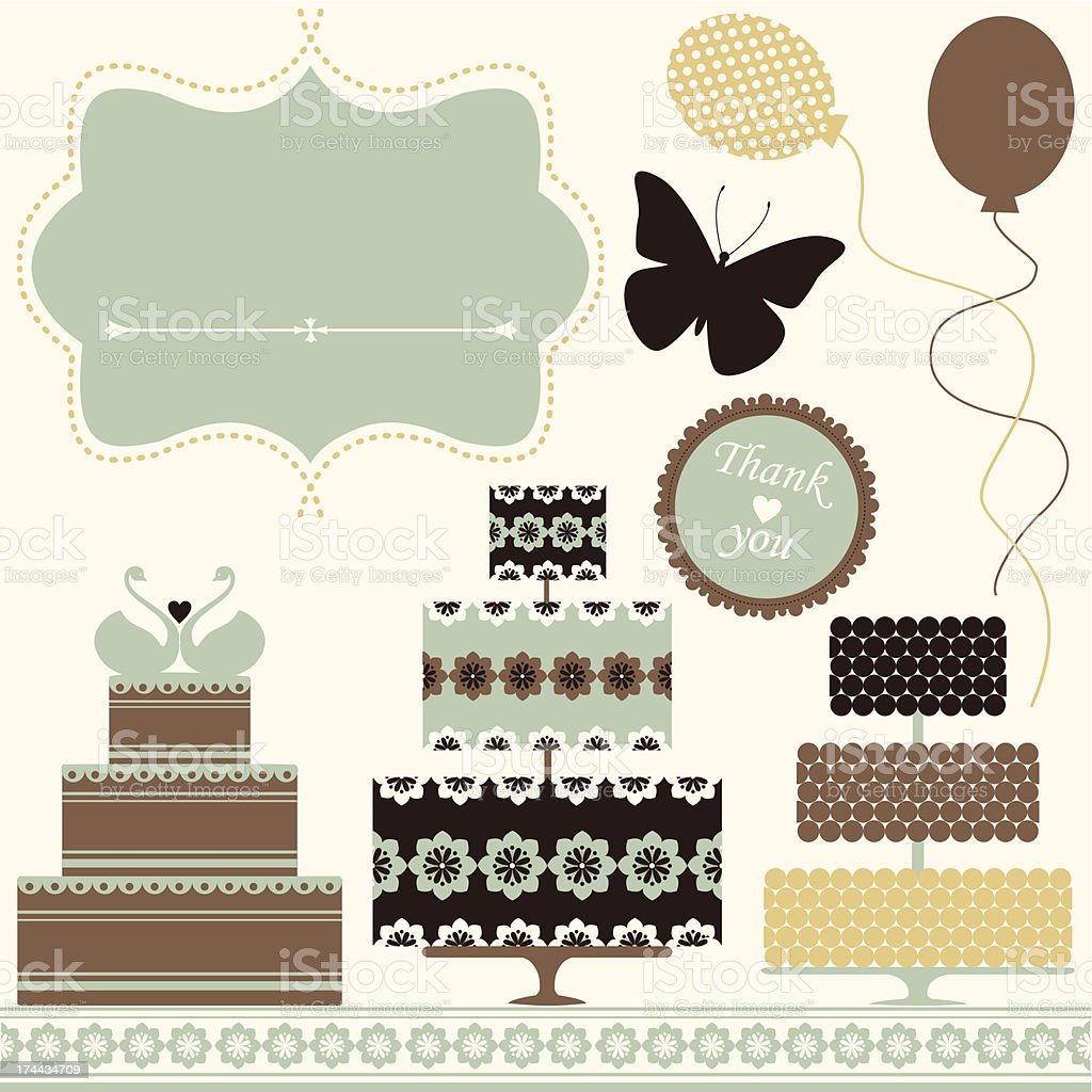 Brown, blue, and yellow celebration icons royalty-free stock vector art