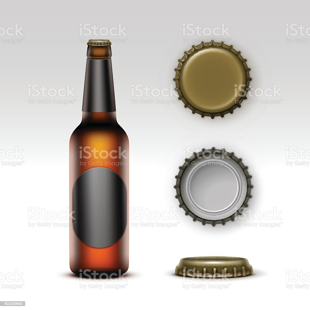 Brown Bottle Beer with Black label and Set of Caps