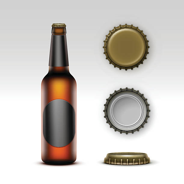 Brown Bottle Beer with Black label and Set of Caps vector art illustration