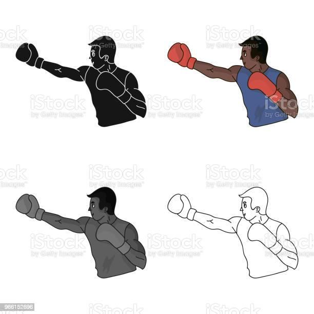 Brun Boxare I Boxning Handskar Den Olympiska Sporten Boxingolympic Sport Enda Ikonen I Tecknad Stil Vektor Symbol Lager Web Illustration-vektorgrafik och fler bilder på Atlet