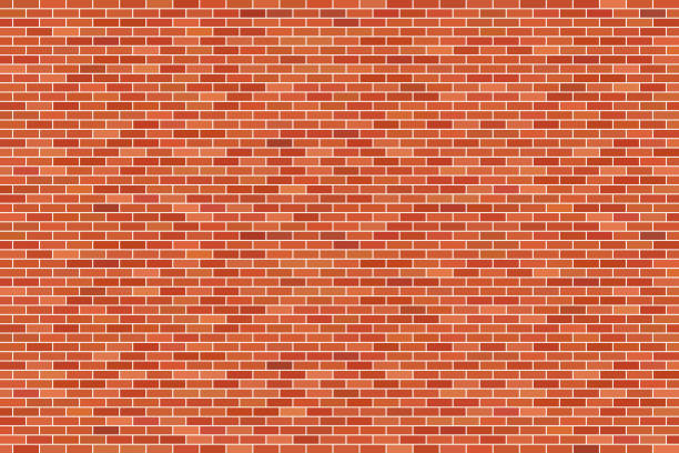 Brown brick wall background vector art illustration