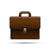 Brown briefcase isolated on white, realistic vector business case illustration.