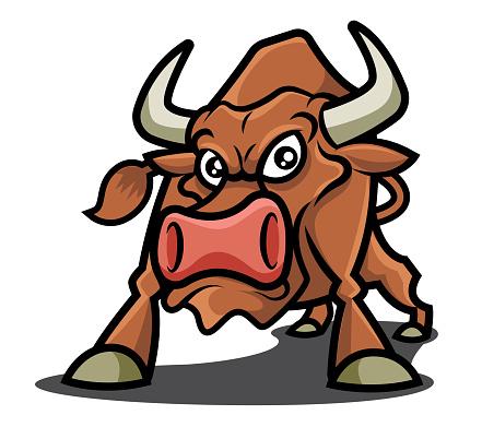 Brown bull mascot character illustration