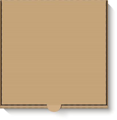 Brown cardboard pizza box