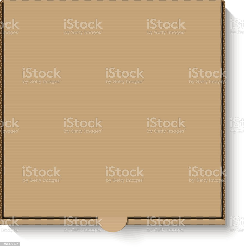 Brown cardboard pizza box vector art illustration