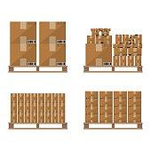 Brown carton box wooden pallet