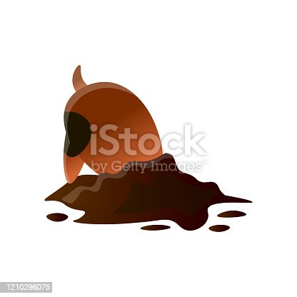 istock Brown cartoon dirty dog digging hole isolated on white background 1210296075