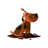 istock Brown cartoon dirty dog isolated on white background 1210296051