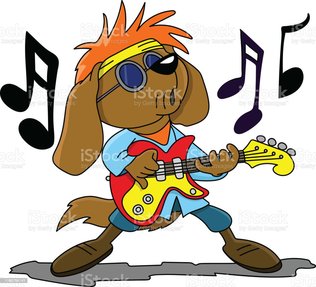 Brown Cartoon Dog Playing Electronic Guitar And Singing Rock And