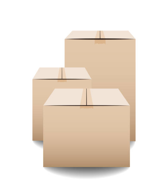 Brown closed carton delivery packaging boxes isolated on white background. Vector illustration Brown closed carton delivery packaging boxes isolated on white background. Vector illustration cardboard box stock illustrations