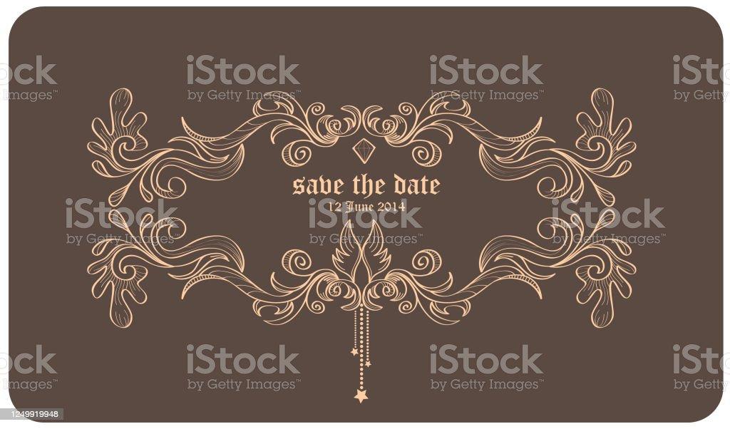 Brown Colour Vintage Line Frame Graphic For Wedding Invitation Card Design Stock Illustration Download Image Now Istock