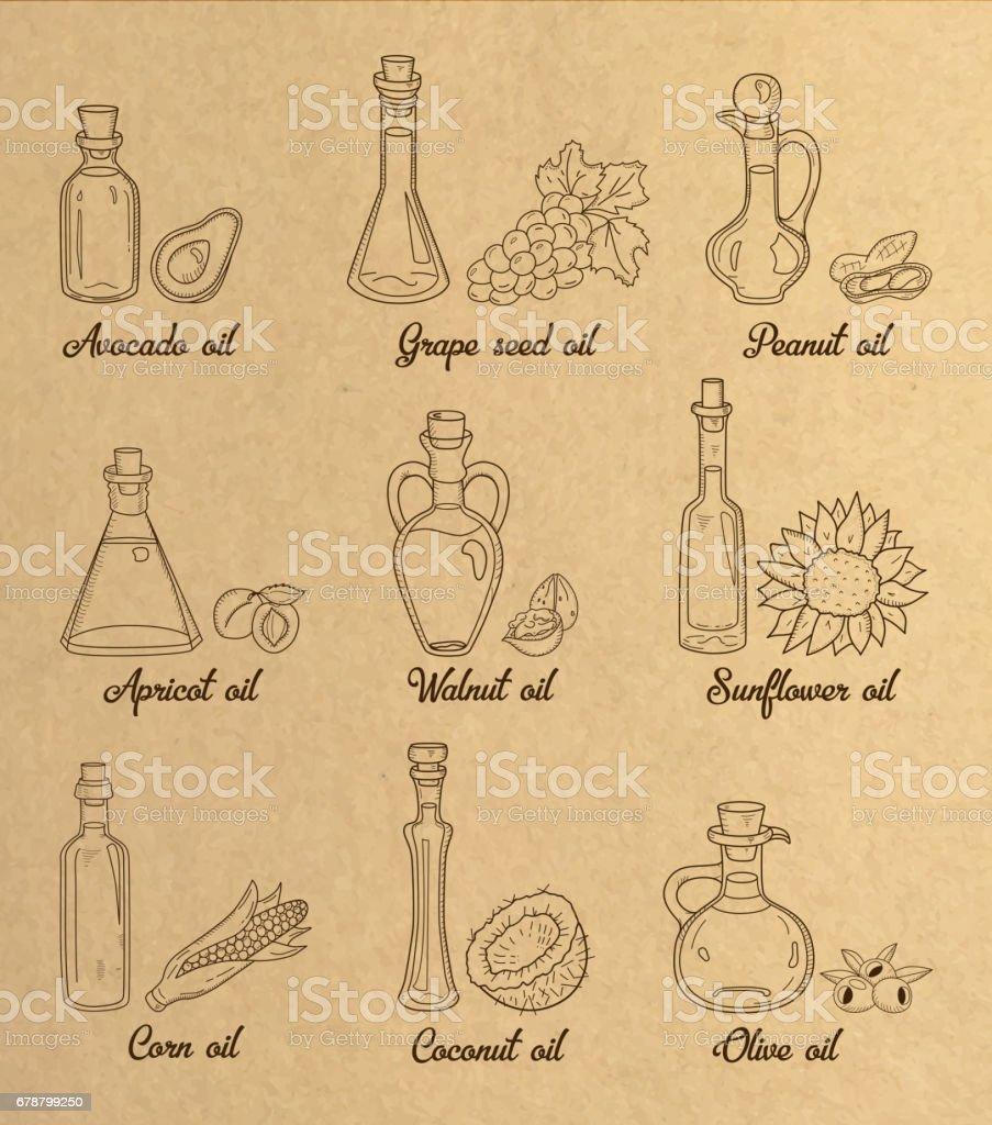 9 marrón aceites de cocina en estilo sepia vintage. - ilustración de arte vectorial