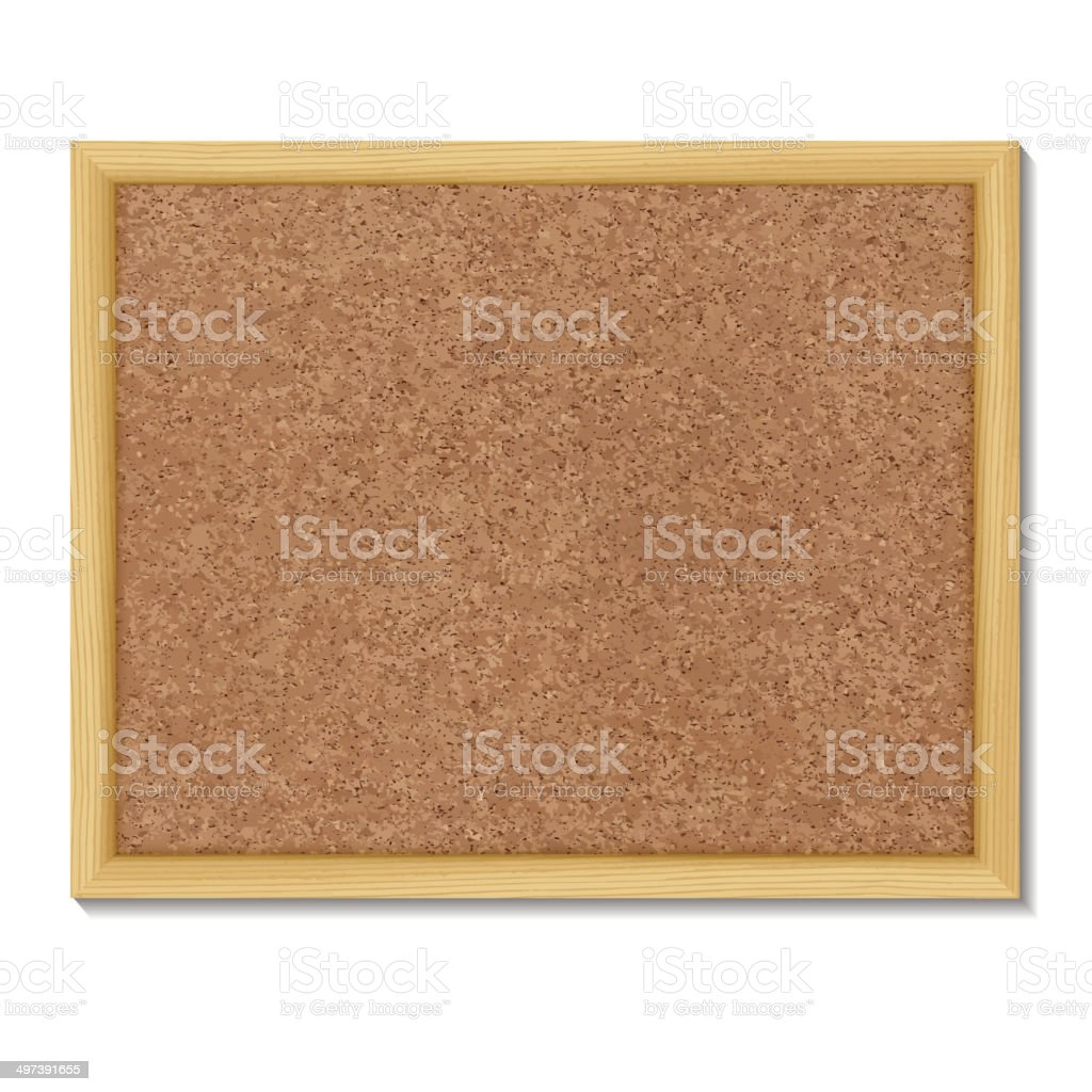 Brown cork board in a frame. vector art illustration