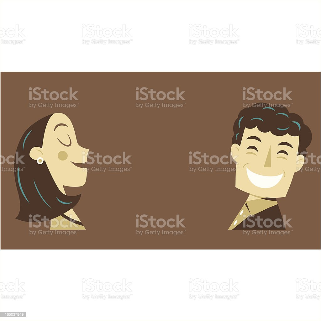 Brown couple vector art illustration