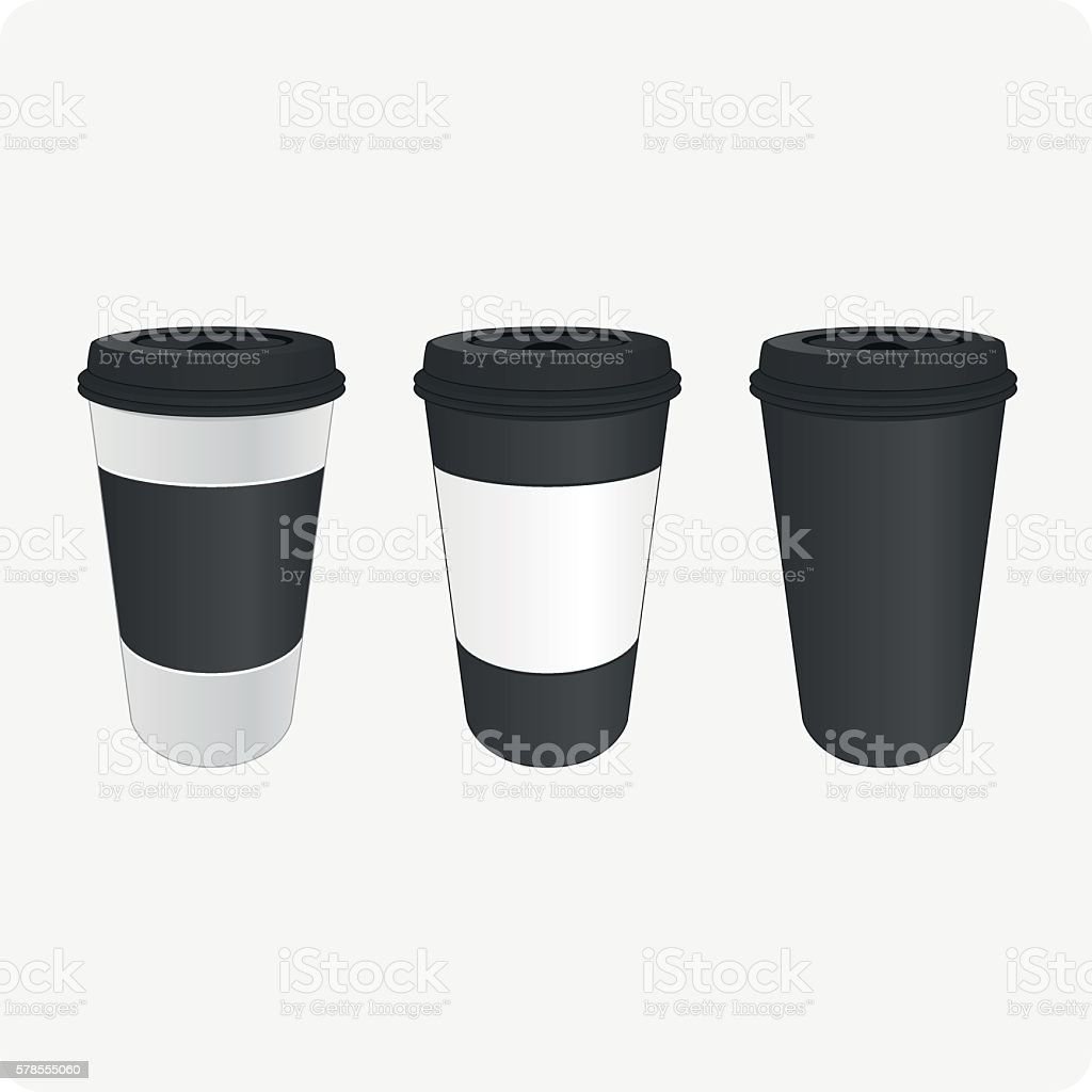 Brown cups for coffee vector art illustration