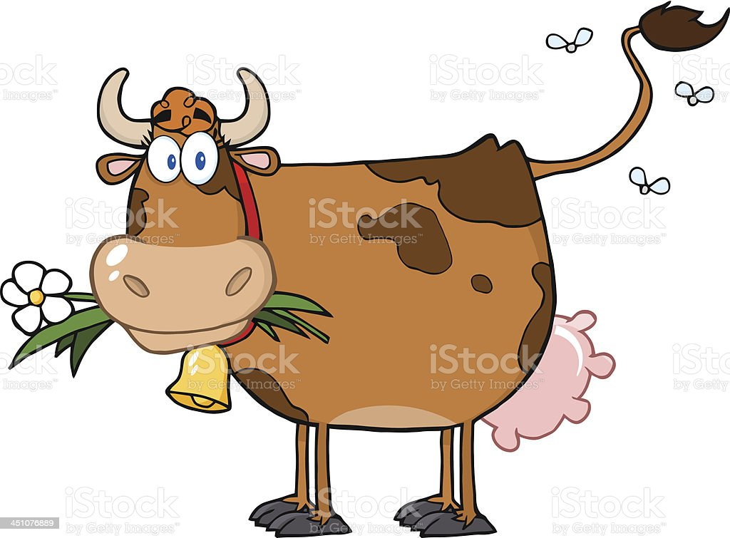 Brown Dairy Cow With Flower In Mouth royalty-free stock vector art
